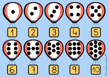 plantilla globos 1-10 con numeros